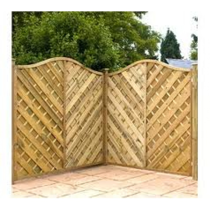 Fencing Chevron Weave Wavy Fence Panels Various Sizes