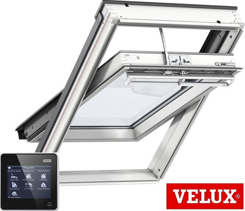 velux ggu 006030 integra white polyurethane centre pivot window with noise reduction. Black Bedroom Furniture Sets. Home Design Ideas